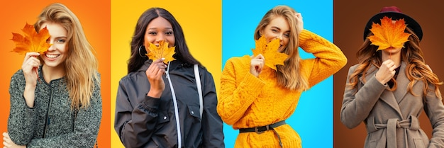 Grappige reeks gelukkige mooie jonge meisjes in trendy herfstkleren met gele herfstbladeren op kleurrijke achtergronden