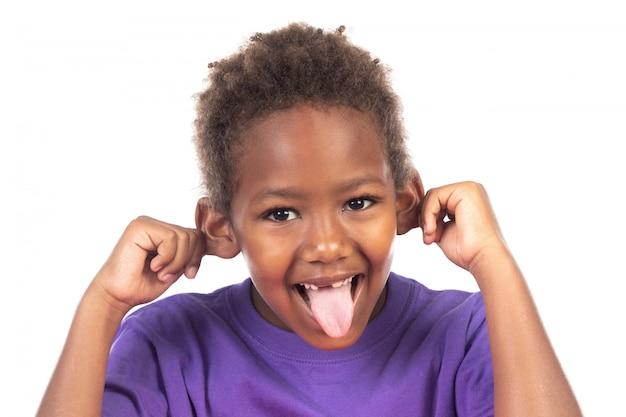 Grappige uitdrukking van een klein afrikaans kind