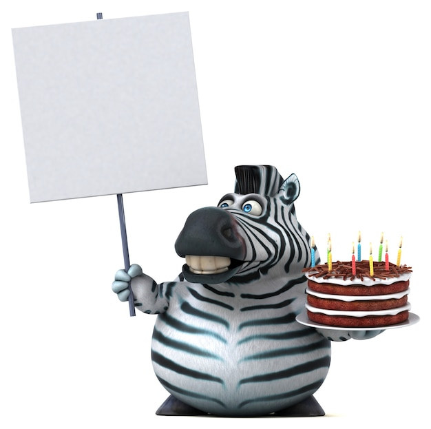 Grappige zebra 3d illustratie