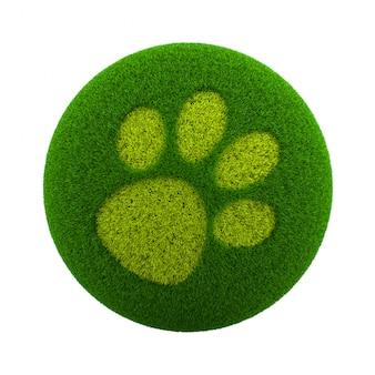 Gras bol hond voetafdruk pictogram