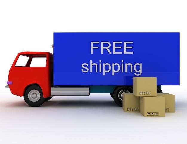 Gratis levering van goederen naar elke plaats. 3d-gerenderde afbeelding