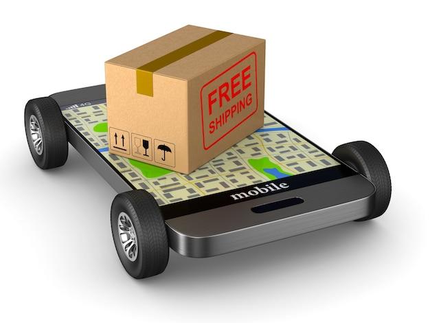 Gratis verzending cargo box en telefoon met wiel op witte achtergrond. geïsoleerde 3d illustratie