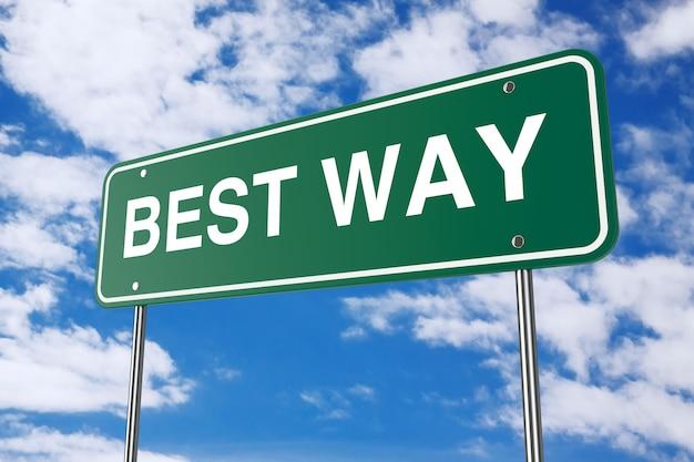 Green best way road sign op een blauwe hemelachtergrond. 3d-rendering