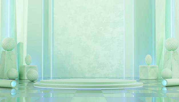 Green castle-interieur mock up stand template-geometrie voor productreclame en commerciële, 3d-weergave.