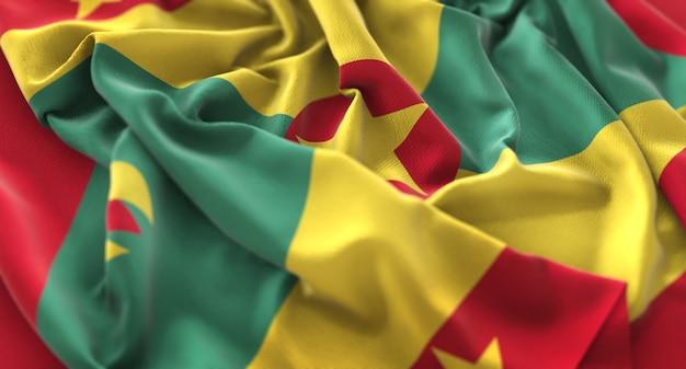 Grenada flag ruffled prachtig wave macro close-up shot