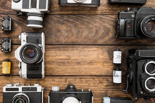Grens van retro camera's en filmcassettes