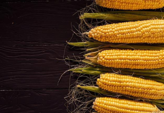 Grens van verse maïskolven met de maïskolven die in een rij over een donkere achtergrond worden geschikt