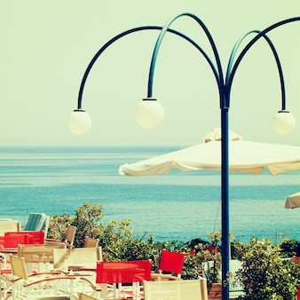 Griekenland coffeeshop en zee, indrukken van griekenland