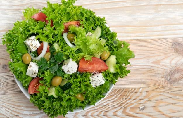 Griekse salade of horiatiki bovenaanzicht