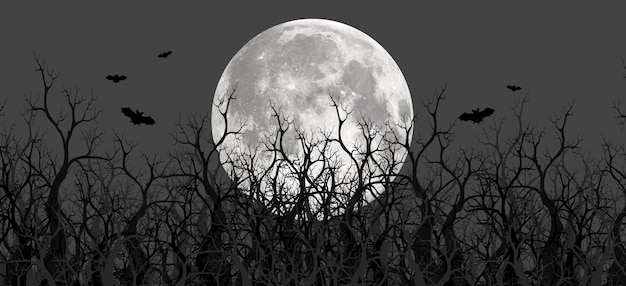 Griezelige 3d-illustraties van panoramische bergen, bomen en manen. er is een ondiepe en diepe berg met mist. en de maan in het bos 's nachts