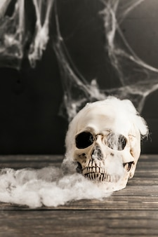 Griezelige schedel en watten