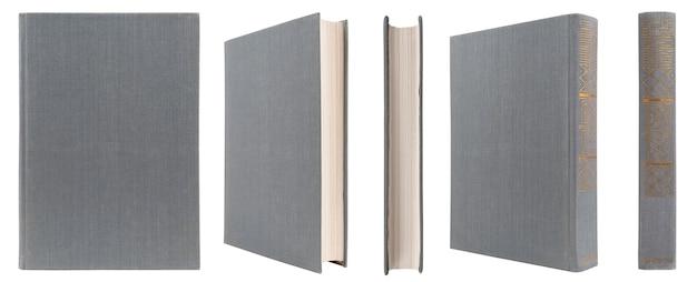 Grijs boek met stoffen kaft op een witte geïsoleerde achtergrond.
