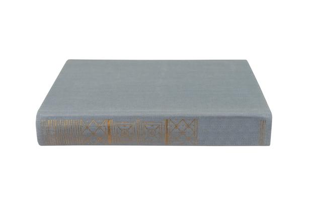 Grijs boek met stoffen kaft op wit i