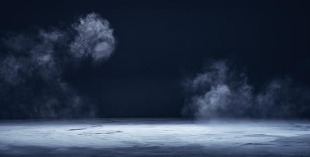Grijs getextureerd betonnen platformpodium of tafel met rook in het donker
