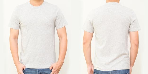 Grijs t-shirt voor- en achterkant