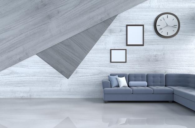 Grijs-wit woonkamerdecor met blauwe bank, muurklok, houten muur, omlijsting.