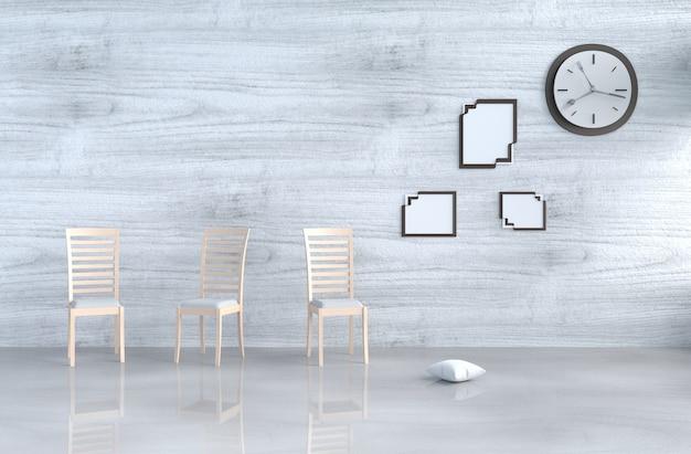 Grijs-wit woonkamerdecor met bruine stoel, muurklok, witte houten muur, omlijsting.