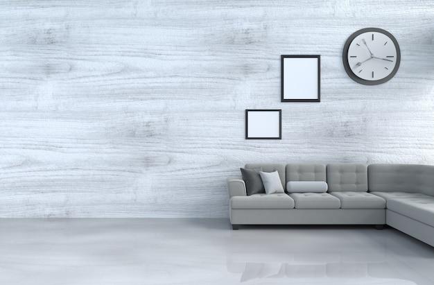 Grijs-wit woonkamerdecor met grijze bank, muurklok, witte houten muur, omlijsting. 3d