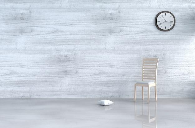 Grijs-wit woonkamerdecor met houten stoel, muurklok, witte houten muur, hoofdkussen, vloer. 3d r