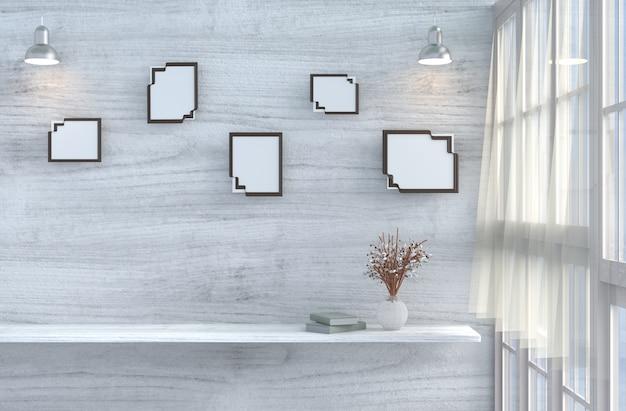 Grijs-wit woonkamerdecor met witte houten muur, raam, tafel, roos, mock-up, overgordijn. 3d