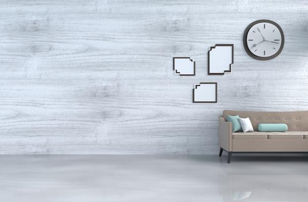 Grijs-witte woonkamer decor bruine bank, wandklok, witte houten muur, kussen, fotolijst.