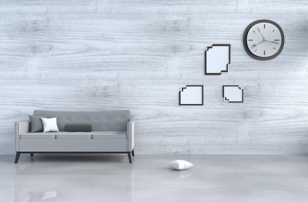 Grijs-witte woonkamer decor grijze bank, wandklok, witte houten muur, kussen, fotolijst. 3d