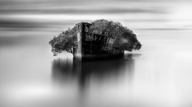 Grijstintenopname van een verlaten gebied in de open zee