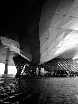 Grijswaardenfotografie van gebouwen