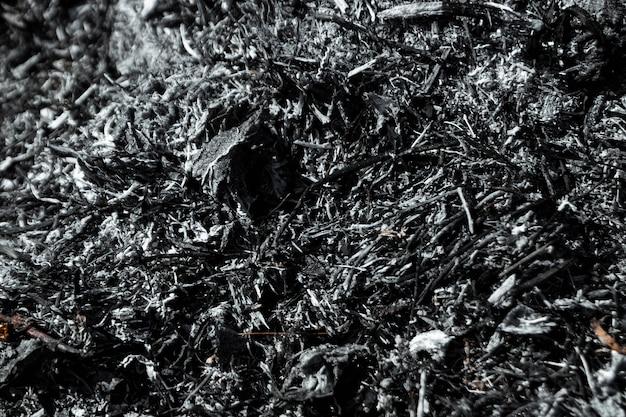 Grijze achtergrondas, verbrande planten, abstracte textuur van kolen en as