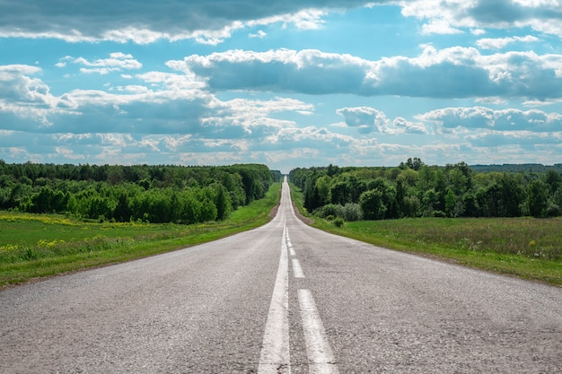 Grijze asfaltweg met witte aftekeningen die de horizon ingaan, het concept van het leven, het bereiken van doelen, een sterk karakter
