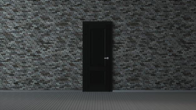 Grijze bakstenen muur, zwarte deur en houten vloer, abstracte lege interieur achtergrond. 3d-afbeelding.