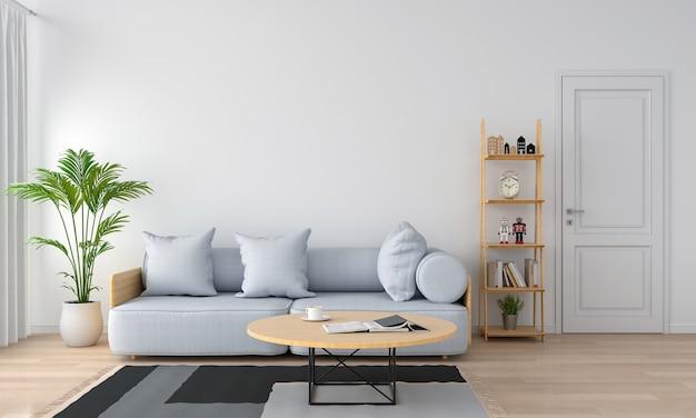Grijze bank en hoofdkussen in witte woonkamer