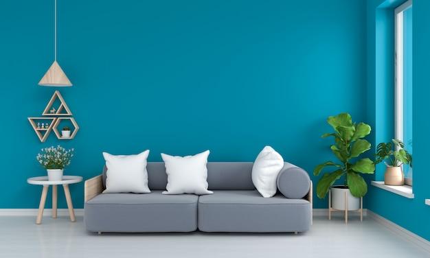 Grijze bank en tafel in blauwe woonkamer