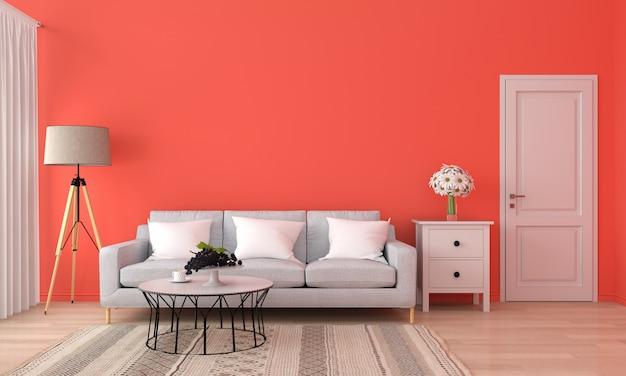 Grijze bank en tafel in oranje woonkamer,