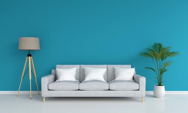 Grijze bank in blauwe woonkamer voor mockup