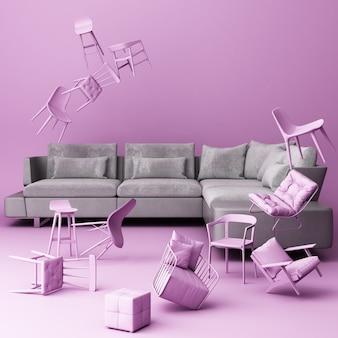 Grijze bank omringd door veel zwevende stoelen