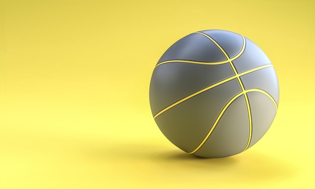 Grijze basketbalbal op gele achtergrond. 3d render.