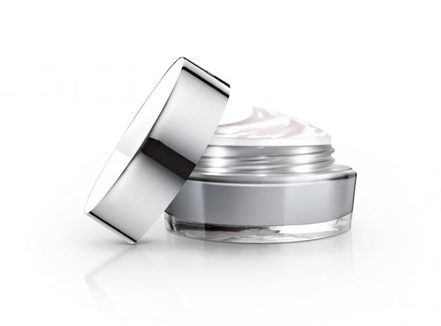 Grijze cosmetische pot en room