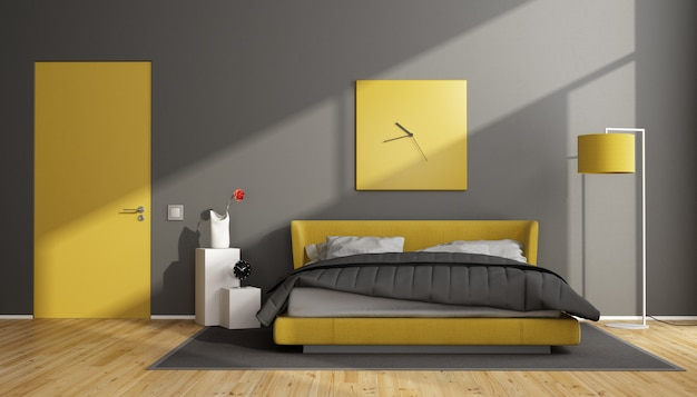 Grijze en gele moderne slaapkamer