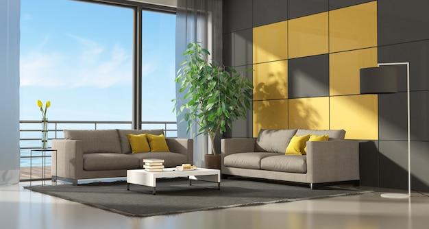 Grijze en gele moderne woonkamer twee bank - 3d-rendering