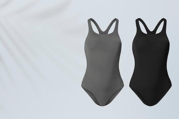 Grijze en zwarte zwemkleding uit één stuk zomerkleding met ontwerpruimte