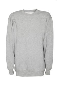 Grijze jas, sweatshirt op wit geïsoleerd oppervlak met plaats voor tekst