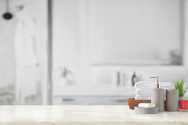 Grijze keramische fles met witte katoenen handdoeken in mand