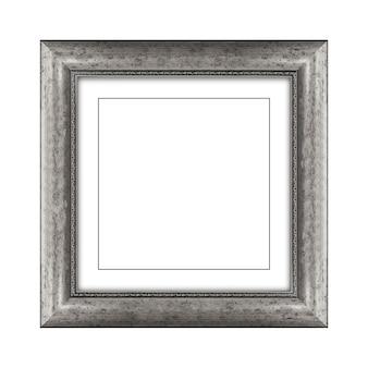 Grijze kleur houten frame voor foto of foto geïsoleerd op een witte achtergrond met uitknippad