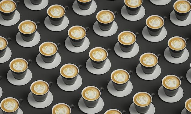 Grijze kopjes koffie in een tafel geplaatst. foto voor coffeeshop decoratie.