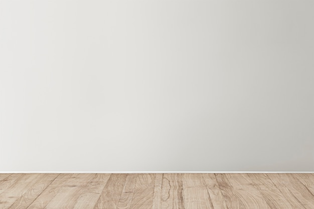 Grijze lege betonnen muur mockup met een houten vloer