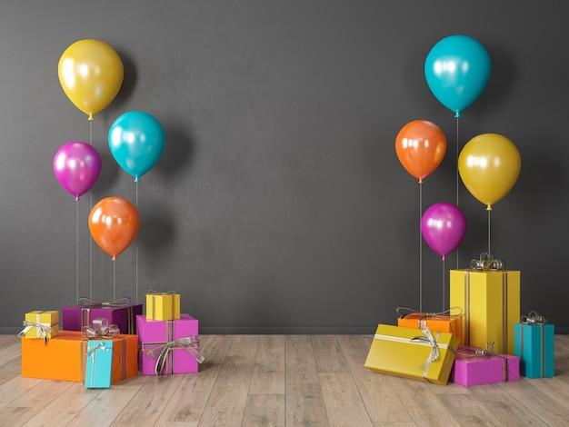 Grijze lege muur, kleurrijk interieur met geschenken, cadeautjes, ballonnen voor feest, verjaardag, evenementen. 3d render illustratie, mockup.