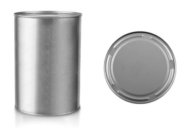 Grijze metalen gesloten pot uitgesneden op wit.