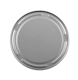 Grijze metalen gesloten pot uitgesneden op witte achtergrond. uitzicht van boven