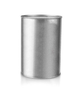 Grijze metalen gesloten pot uitgesneden op witte achtergrond.